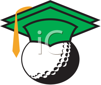 Royalty Free Clipart Image of a Golf Ball Wearing a Mortar Cap
