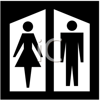 Royalty Free Clipart Image of a Male and Female Restroom Sign