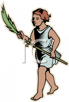 Royalty Free Clipart Image of a Girl Holding a Palm Branch