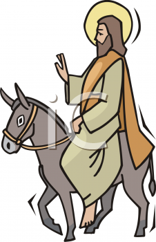 Royalty Free Clipart Image of Jesus Riding a Donkey