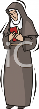 Royalty Free Clipart Image of a Nun Holding a Bible