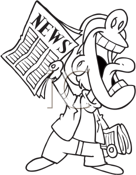 Royalty Free Clipart Image of a Newsboy