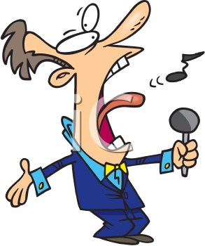 Royalty Free Clipart Image of a Man Singing
