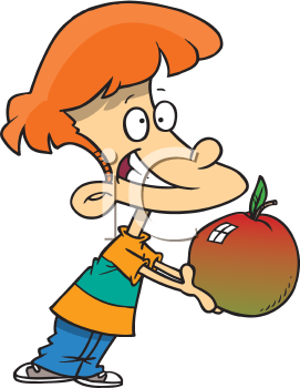 Royalty Free Clipart Image of a Boy With an Apple