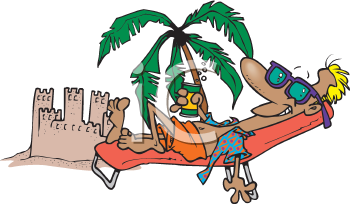 Royalty Free Clipart Image of a Man Sunbathing