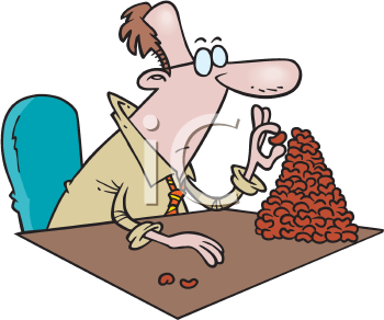 Royalty Free Clipart Image of a Man Counting Beans