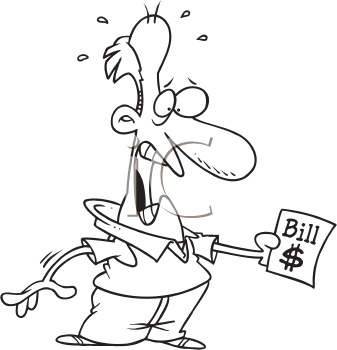 Royalty Free Clipart Image of a Shocked Man Looking at a Bill