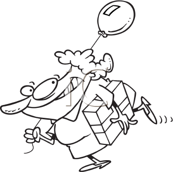 Royalty Free Clipart Image of a Woman With a Present and a Balloon