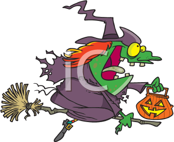 Royalty Free Clipart Image of Witch Riding a Broom