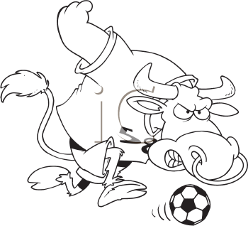 Royalty Free Clipart Image of a Bull and a Soccer Ball