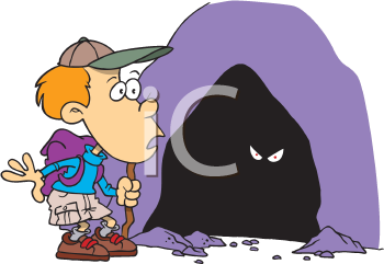 Royalty Free Clipart Image of a Boy Looking in a Cave