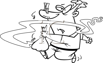 Royalty Free Clipart Image of a Man Taking Out Smelly Trash