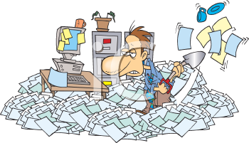 Royalty Free Clipart Image of a Man Surrounded by Clutter