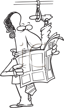 Royalty Free Clipart Image of a Man With His Leg on the Bus Hook While Reading a Newspaper