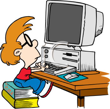 Royalty Free Clipart Image of a Child at a Computer