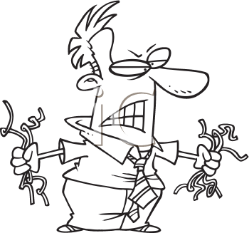 Royalty Free Clipart Image of a Very Angry Man Holding Computer Wires