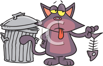 Royalty Free Clipart Image of a Cat Eating Out of a Garbage Can