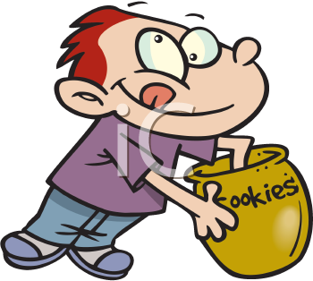 Royalty Free Clipart Image of a Boy With His Hand in the Cookie Jar