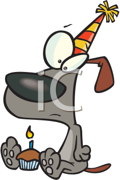 Royalty Free Clipart Image of a Birthday Dog