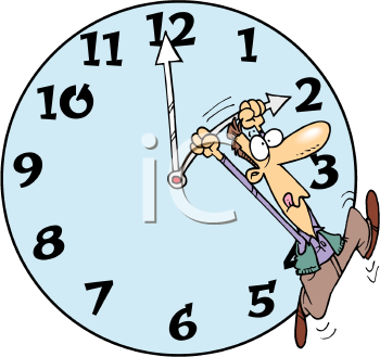 Royalty Free Clipart Image of a Man Holding the Arm of a Clock