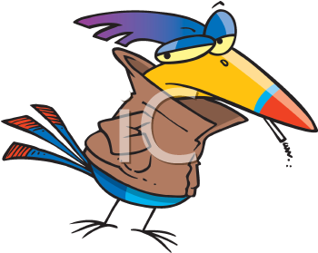 Royalty Free Clipart Image of a Juvenile Delinquent Bird