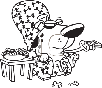 Royalty Free Clipart Image of a Dog With a Remote
