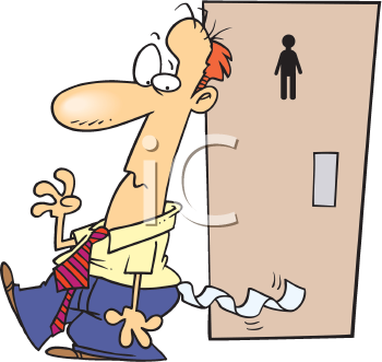 Royalty Free Clipart Image of a Man Leaving the Washroom With Toilet Paper Stuck to Him