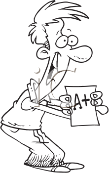 Royalty Free Clipart Image of a Man With an A Plus