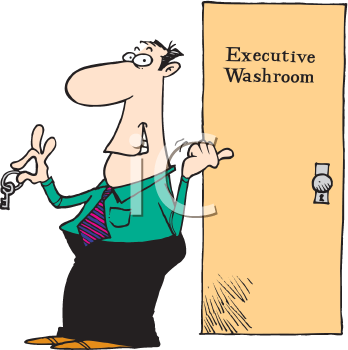 Royalty Free Clipart Image of a Man Using the Executive Washroom