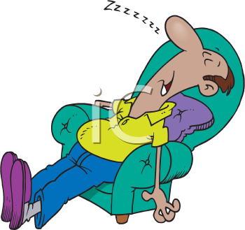 Royalty Free Clipart Image of a Sleeping Man in a Chair