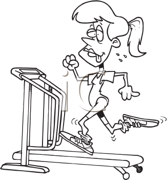 Royalty Free Clipart Image of a Woman on a Treadmill