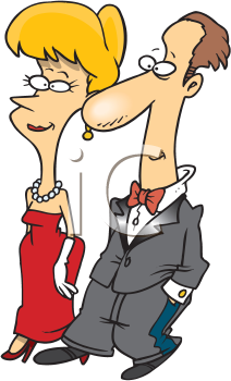 Royalty Free Clipart Image of a Couple Dressed Formally