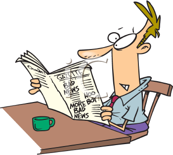 Royalty Free Clipart Image of a Man Reading a Newspaper