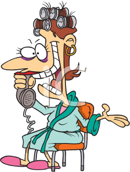 Royalty Free Clipart Image of a Woman in Curlers Talking on the Phone