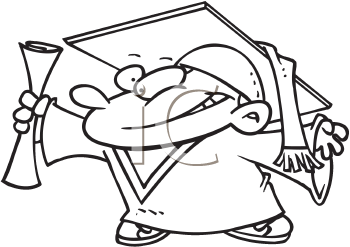 Royalty Free Clipart Image of a Graduating Tyke