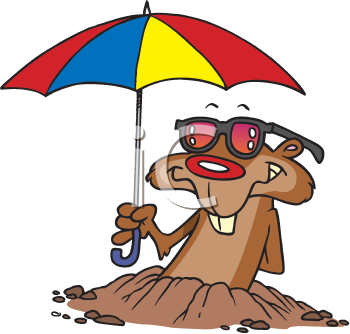 Royalty Free Clipart Image of a Gopher With an Umbrella