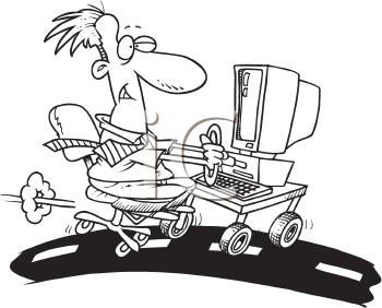 Royalty Free Clipart Image of a Man on the Technology Highway