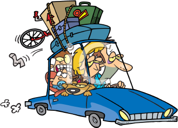 Royalty Free Clipart Image of a Family on Vacation
