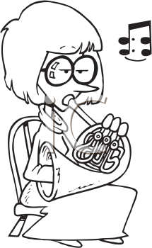 Royalty Free Clipart Image of a Woman Playing a French Horn