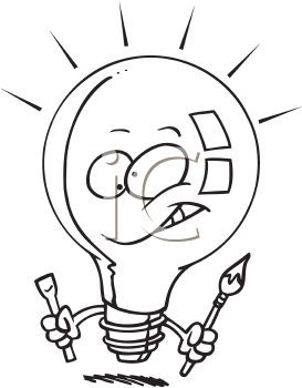 Royalty Free Clipart Image of a Lightbulb With a Tool and Paintbrush
