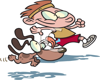 Royalty Free Clipart Image of a Boy Running With a Dog