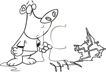 Royalty Free Clipart Image of a Bear With a Kite