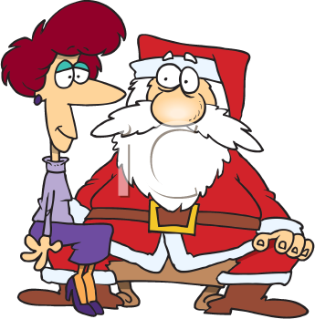 Royalty Free Clipart Image of a Woman on Santa's Lap