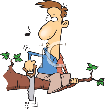 Royalty Free Clipart Image of a Man Cutting a Branch He's Sitting On