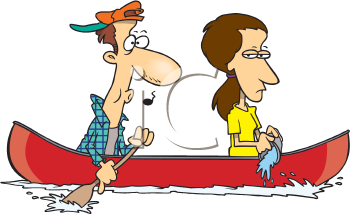 Royalty Free Clipart Image of a Couple in a Canoe
