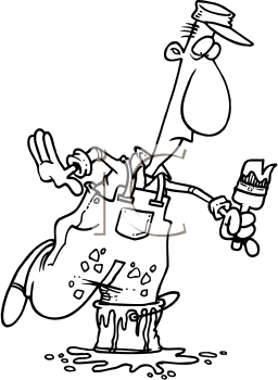 Royalty Free Clipart Image of a Painter With His Foot in a Can