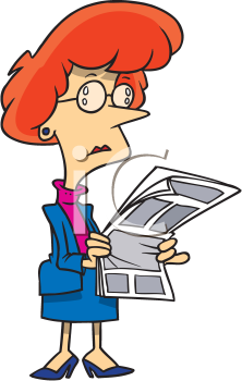 Royalty Free Clipart Image of a Woman Reading the Paper