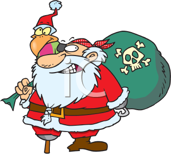 Royalty Free Clipart Image of a Pirate Santa