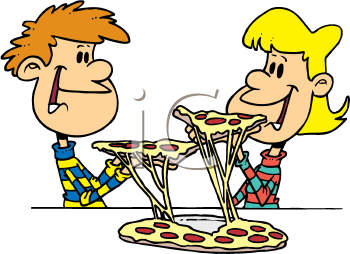 Royalty Free Clipart Image of People Eating Pizza