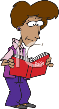 Royalty Free Clipart Image of a Woman Reading Policy